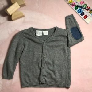 9M Elbow Patch Button Down Gray Sweater